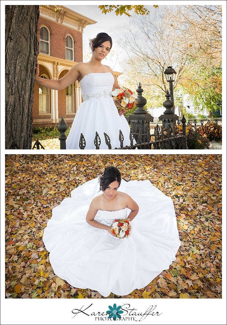 Bride in Fall leaves